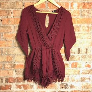 BOGO 🆓 Ambiance maroon v neck crochet romper